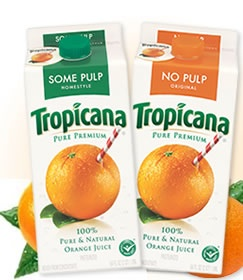 Green for some pulp, orange for no pulp